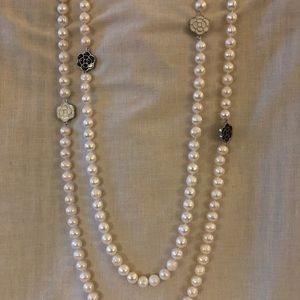 Jewelry - Long REAL Pearl Strand with Delicate Rose Jewels